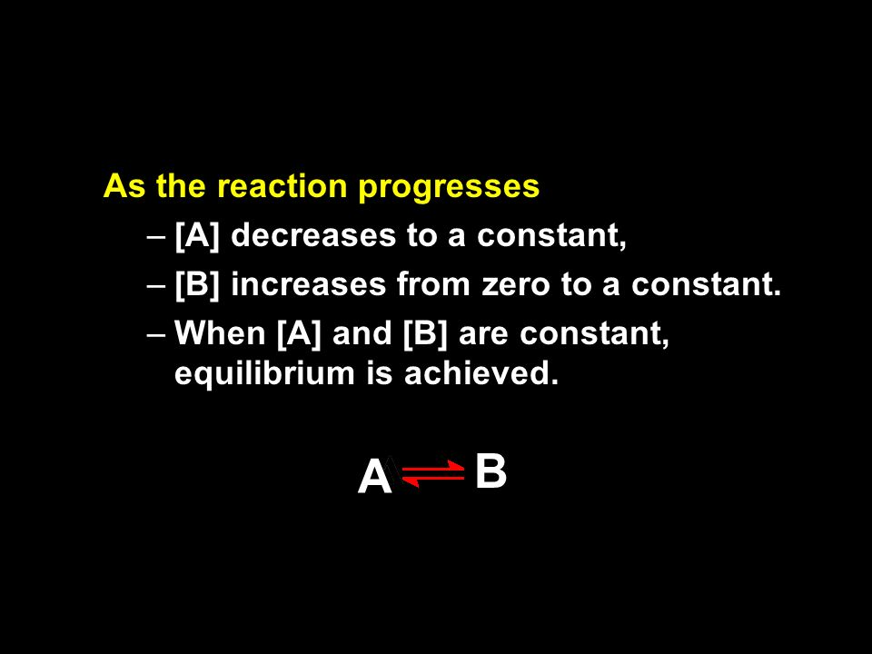 B A As the reaction progresses [A] decreases to a constant,